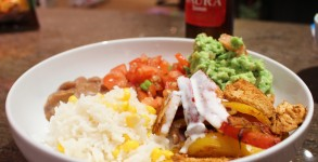 Gluten free Mexican bowl with Gluten Free beer